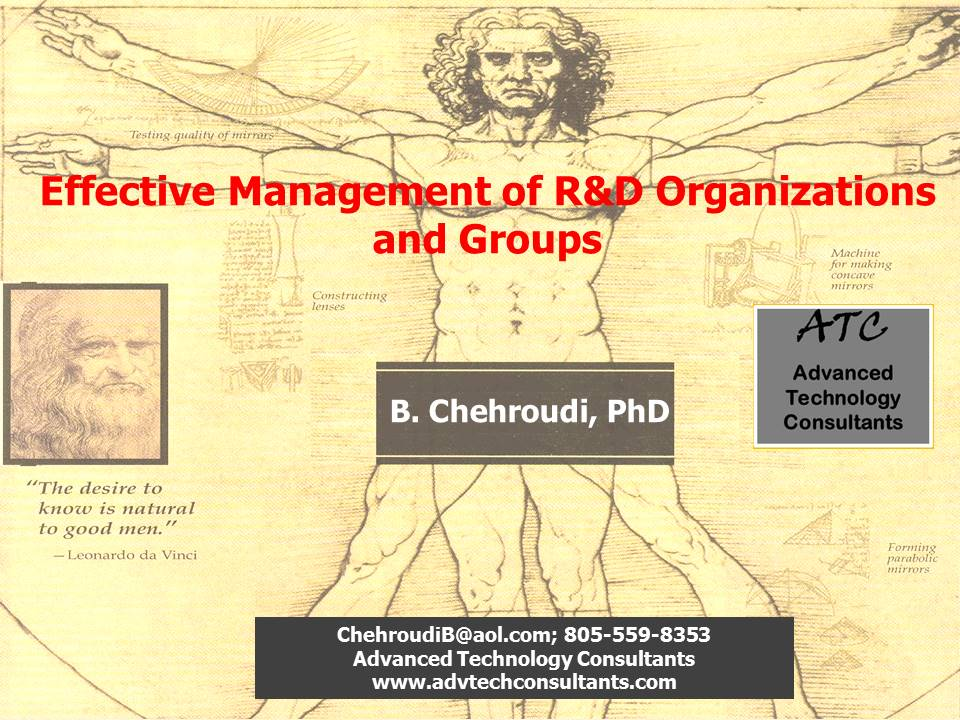 Effective Management of R&D Organizations and Groups